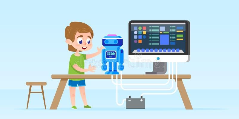 Niño pequeño que crea y que programa el robot elegante Ilustración aislada del vector Concepto del desarrollo en la primera infan libre illustration
