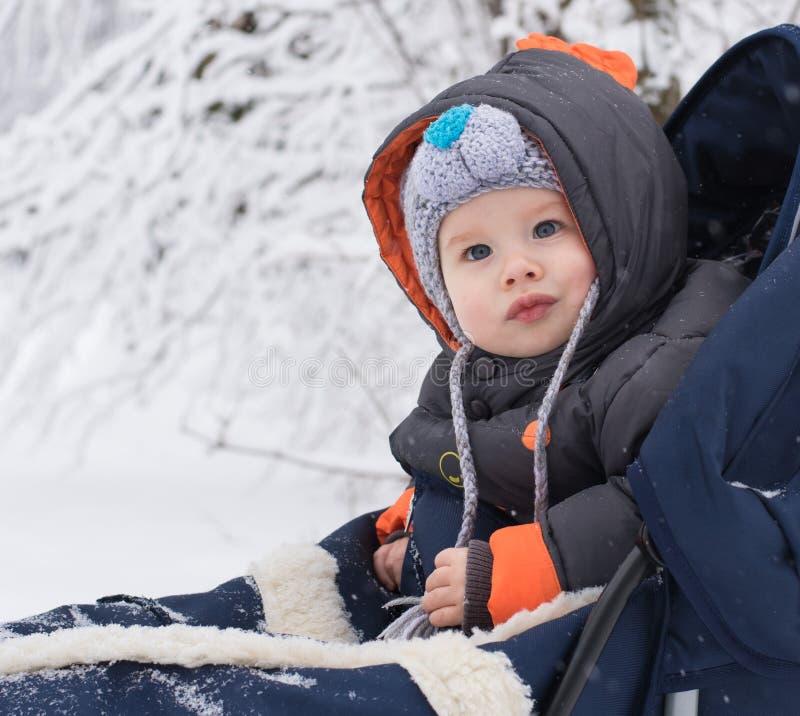 Niño pequeño que disfruta de un paseo del trineo fotografía de archivo libre de regalías