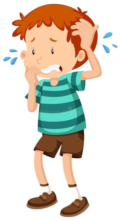 Niño pequeño que está nervioso stock de ilustración