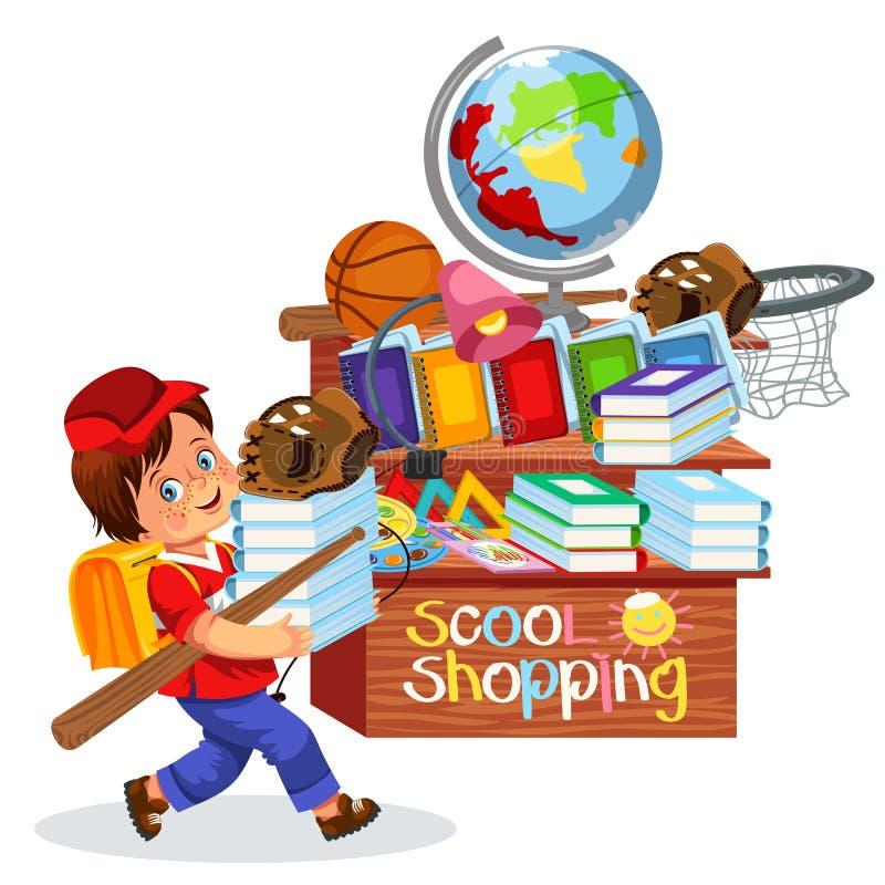Niño pequeño que hace compras de la escuela stock de ilustración