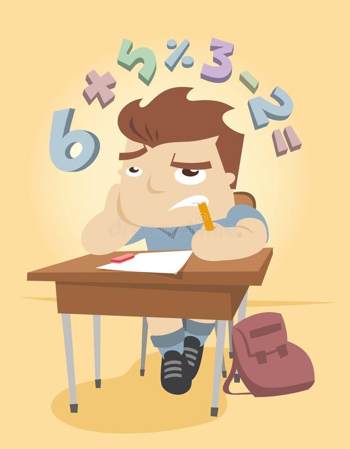 Niño pequeño que intenta solucionar un problema de matemáticas en la escuela libre illustration