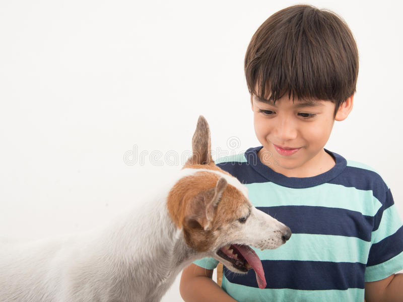 Niño pequeño que juega con su enchufe Russel del perro del amigo fotografía de archivo