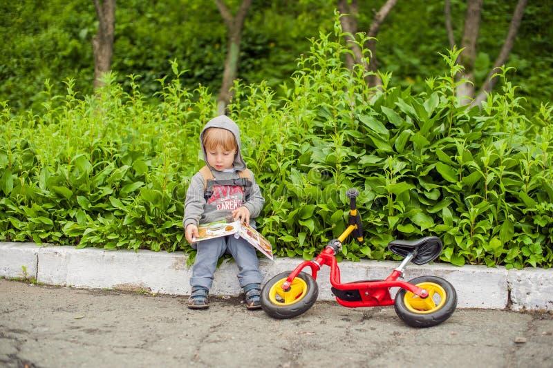 Niño pequeño que lee un libro debajo de árbol de tilo grande fotos de archivo