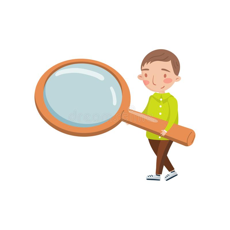 Niño pequeño que lleva a cabo la lupa gigante, actividades preescolares y vector de la historieta de la educación de la niñez tem stock de ilustración