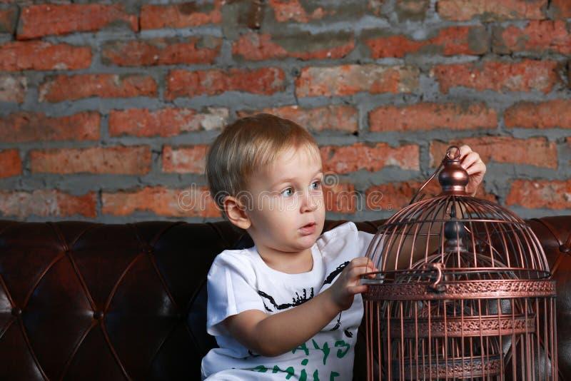 Niño pequeño que mira la jaula de pájaros fotos de archivo