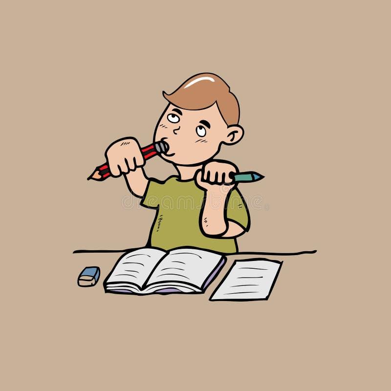 Niño pequeño que muerde un lápiz ilustración del vector