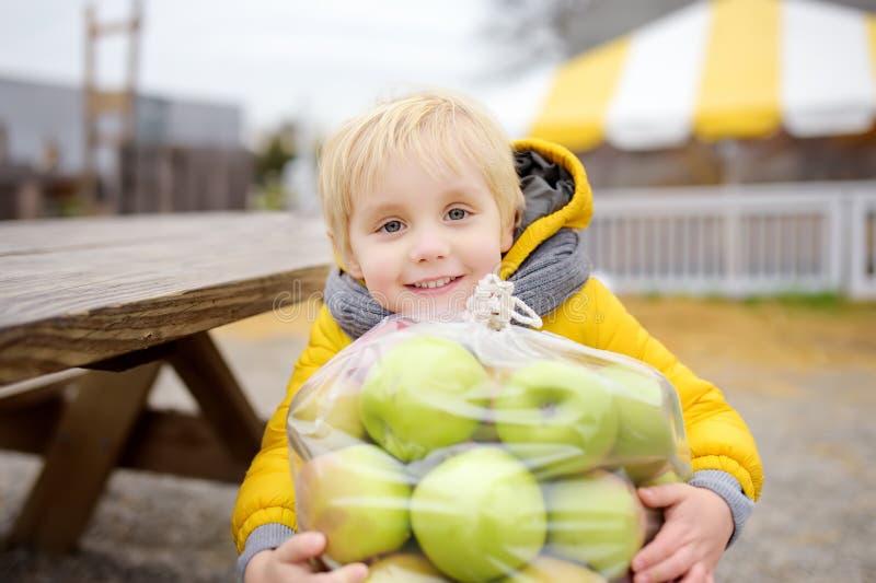 Niño pequeño que se divierte en un viaje de una granja de la calabaza en el otoño Niño que sostiene el bolso grande con las manza imágenes de archivo libres de regalías