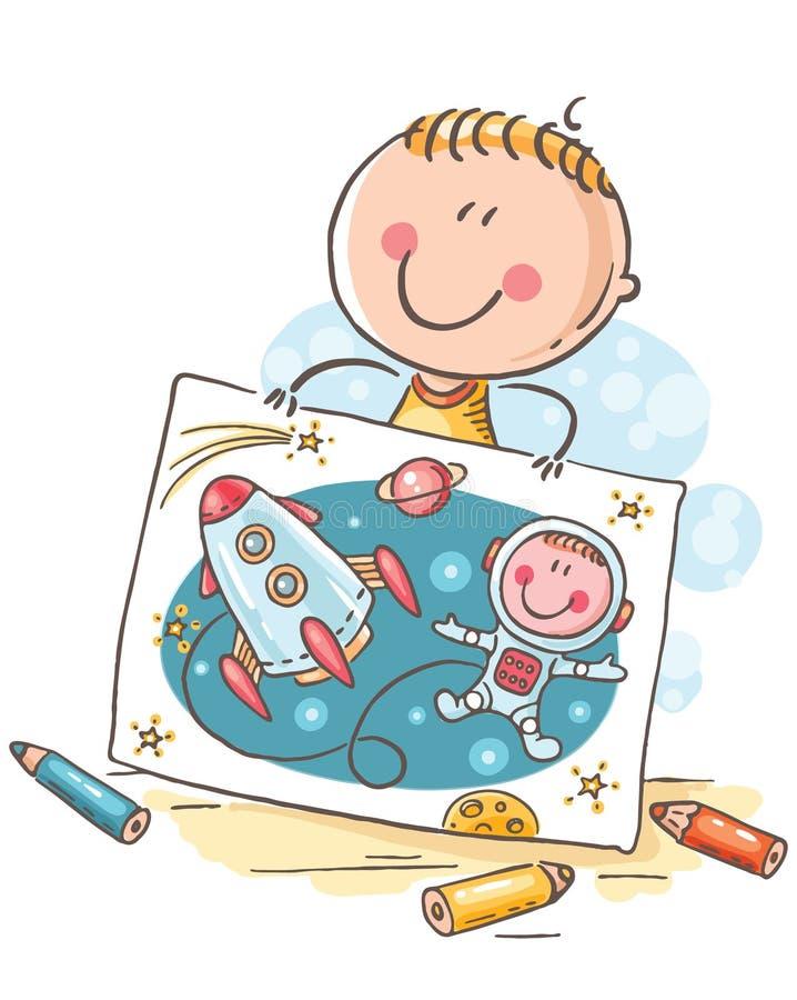 Niño pequeño que se imagina un astronauta con un cohete en el espacio, historieta stock de ilustración