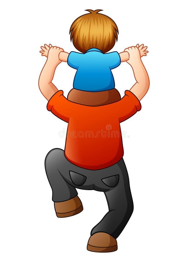 Niño pequeño que se sienta en sus hombros del padre libre illustration