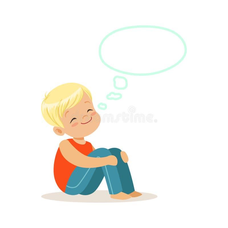 Niño pequeño rubio feliz que sueña con una burbuja del pensamiento, una imaginación y una fantasía, vector colorido de los niños  ilustración del vector