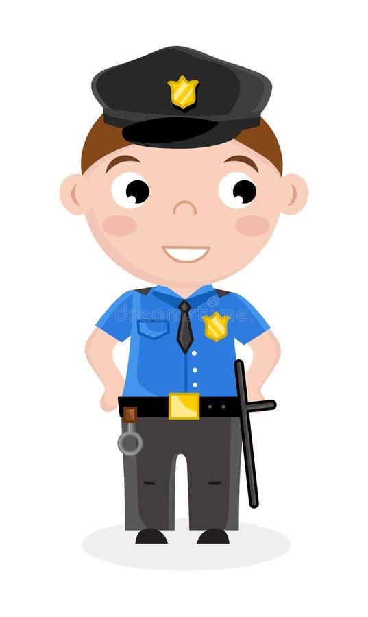 Niño pequeño sonriente en uniforme del policía stock de ilustración