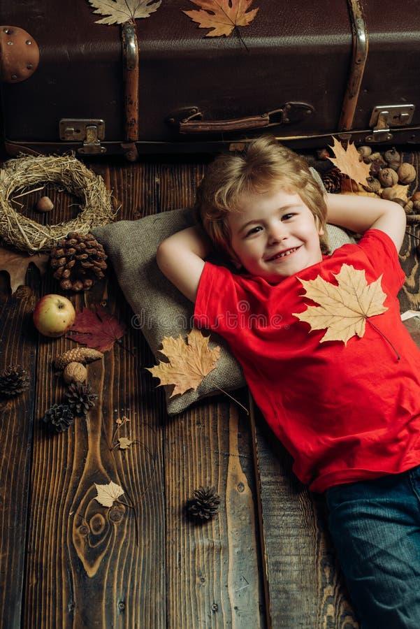 Niño pequeño sonriente que lleva en la ropa estacional de moda que tiene humor otoñal Niño pequeño rubio que descansa con la hoja imagen de archivo