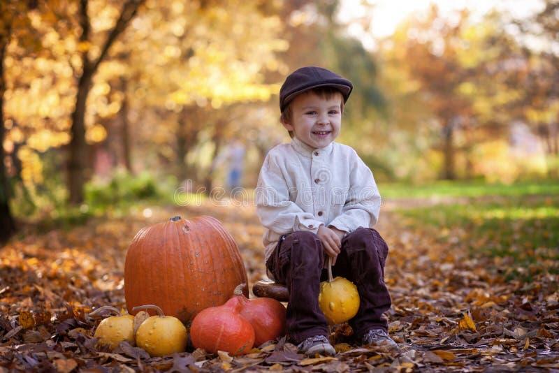 Niño pequeño sonriente, sentándose en una pequeña silla de madera en el parque fotos de archivo