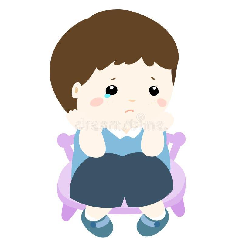 Niño pequeño triste en el fondo blanco libre illustration