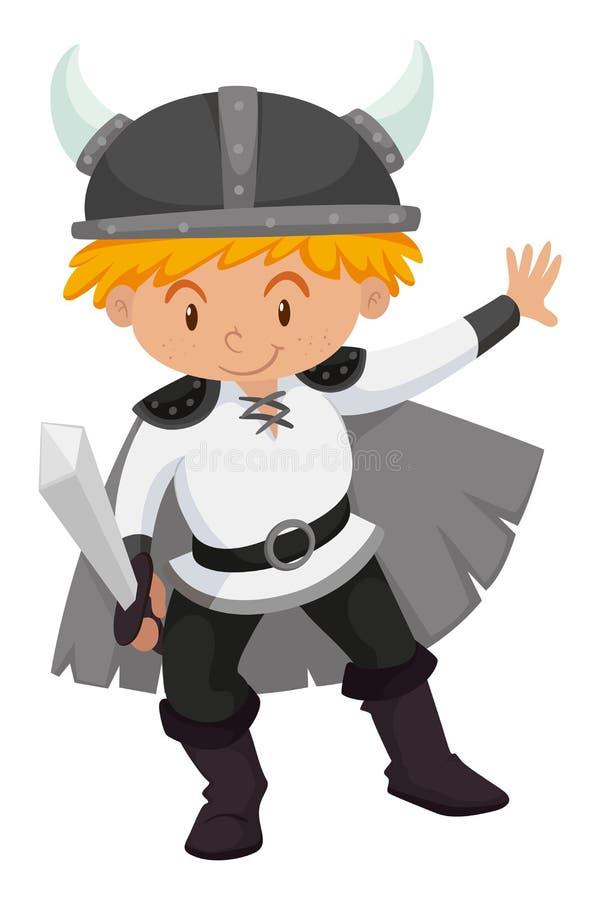 Niño pequeño vestido encima como de vikingo ilustración del vector
