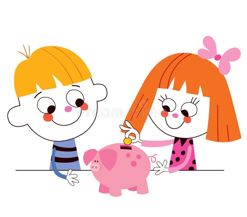 Niño pequeño y muchacha con los ahorros de los niños de la hucha stock de ilustración