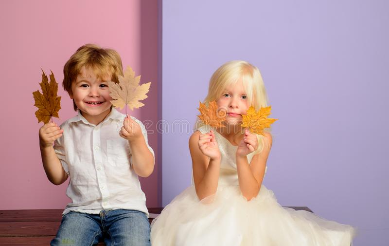 Niño pequeño y muchacha en ropa estacional con la hoja de oro Pequeños niños felices que juegan con las hojas y que miran fotografía de archivo