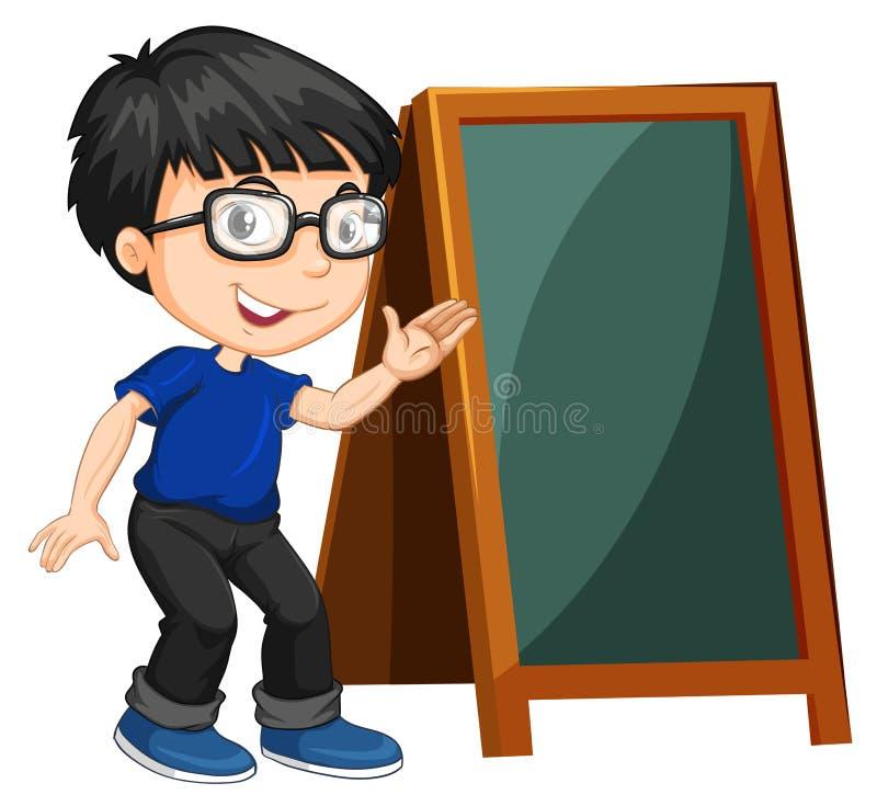 Niño pequeño y muestra en blanco ilustración del vector