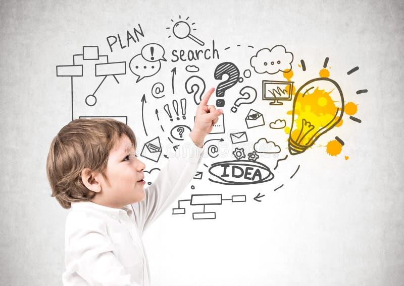 Niño pequeño y su plan empresarial ilustración del vector