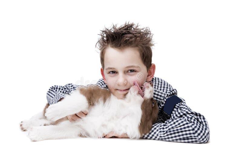 Niño pequeño y un perrito del border collie imagen de archivo libre de regalías