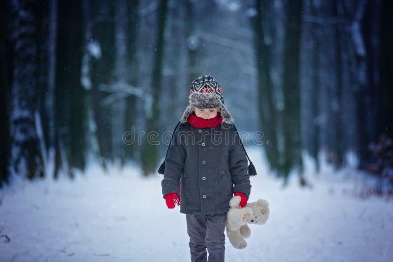Niño perdido triste, muchacho en un bosque con el oso de peluche, invierno fotos de archivo libres de regalías