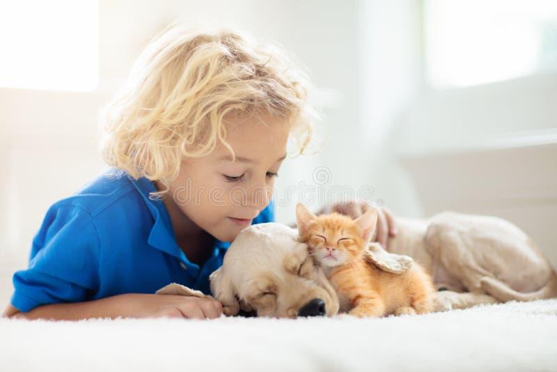Niño, perro y gato Los niños juegan con cachorros, gatitos imagen de archivo