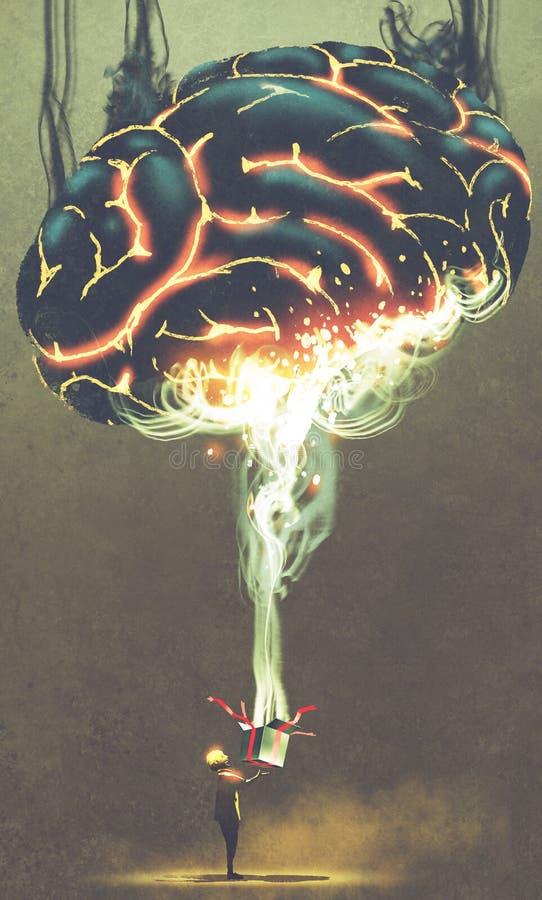 Niño que abre una caja mágica con el cerebro enorme que brilla intensamente desde adentro stock de ilustración