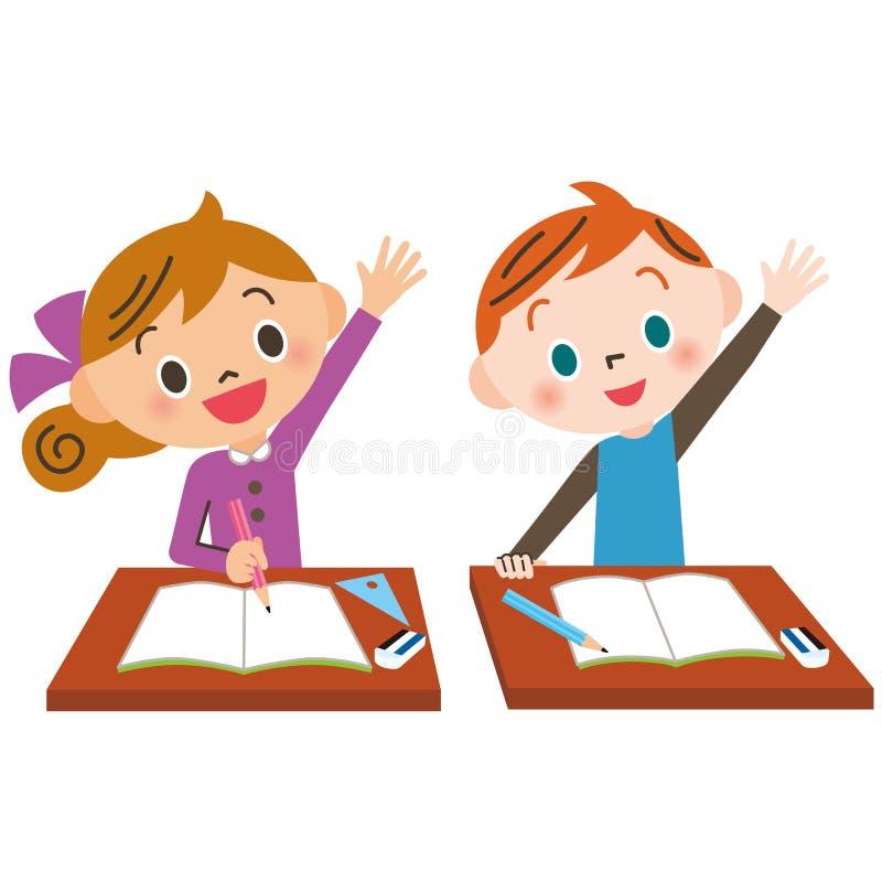 Niño que aumenta la mano bien libre illustration