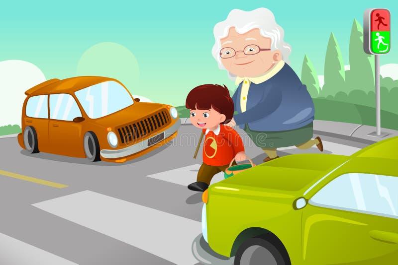 Niño que ayuda a la señora mayor que cruza la calle stock de ilustración