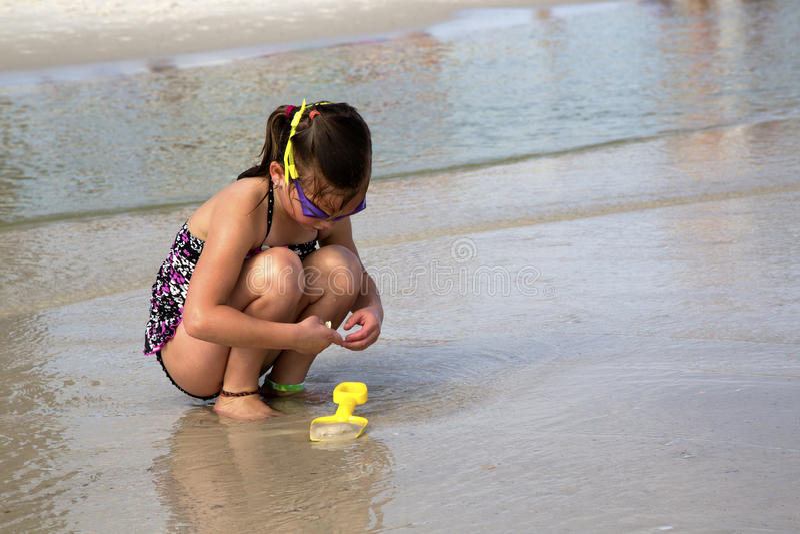 Niño que busca para las cáscaras en la playa.