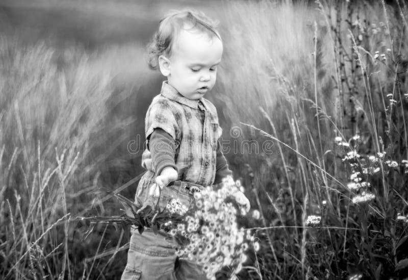 Niño que cae abajo las flores del manojo fotos de archivo libres de regalías