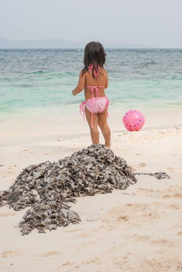 Niño que camina feliz en el mar fotos de archivo libres de regalías