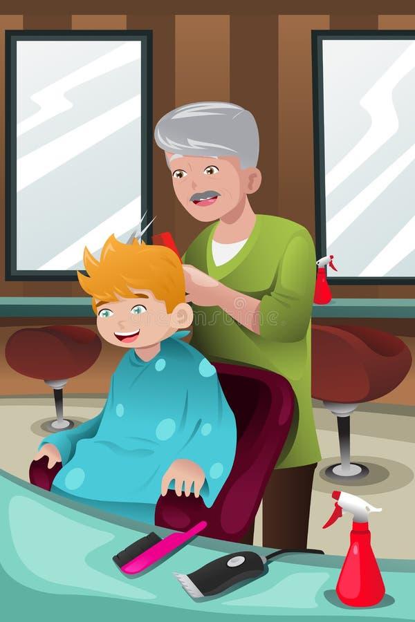 Niño que consigue un corte de pelo ilustración del vector