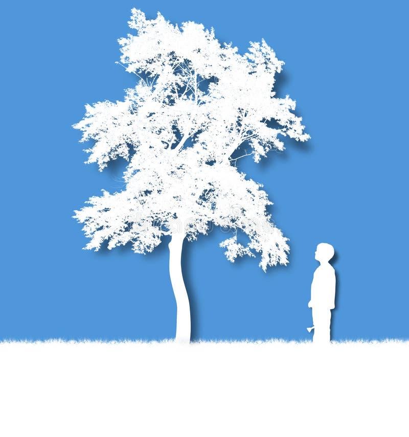 Niño que crece un árbol aislado fotos de archivo