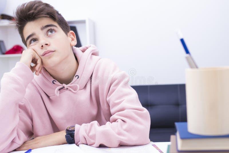 Niño que estudia en casa imagen de archivo