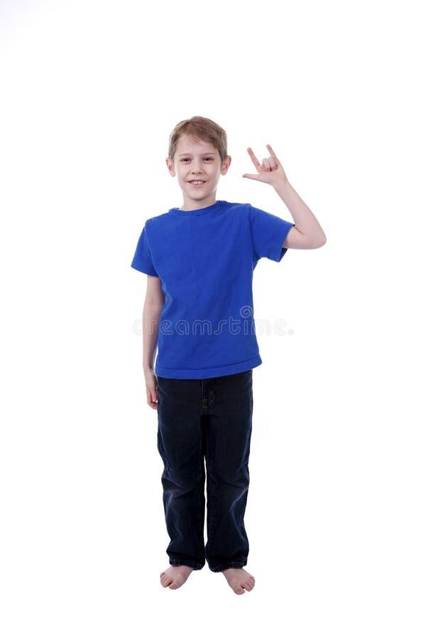 Niño que firma te amo fotos de archivo libres de regalías