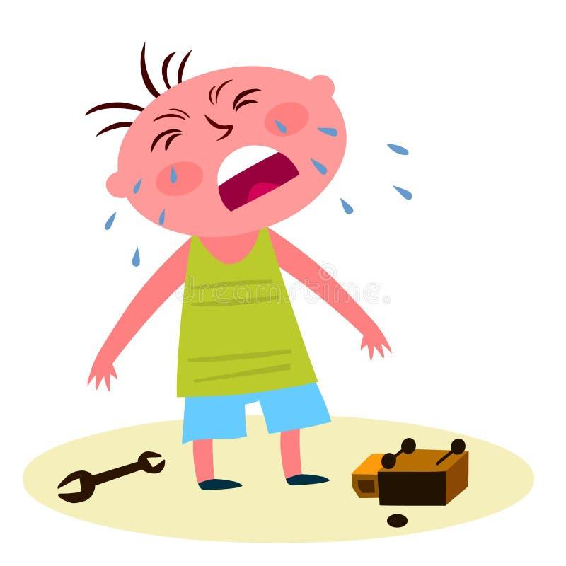 Niño que grita sobre un juguete quebrado ilustración del vector