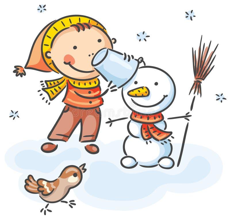 Niño que hace el muñeco de nieve libre illustration