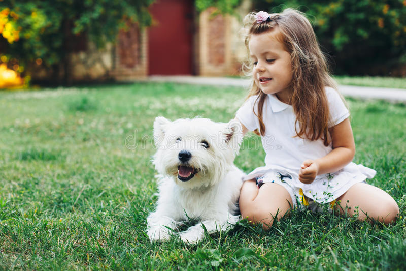 Niño que juega con el perro fotografía de archivo
