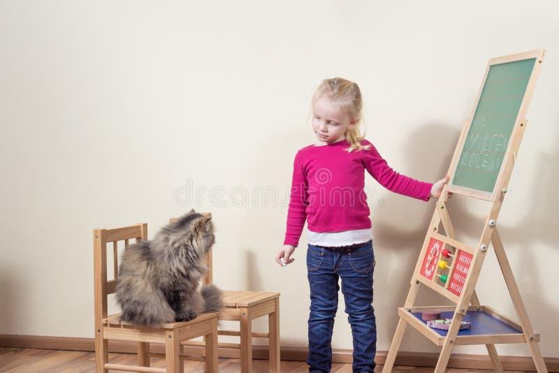 Niño que juega con la escuela del gato. imagenes de archivo