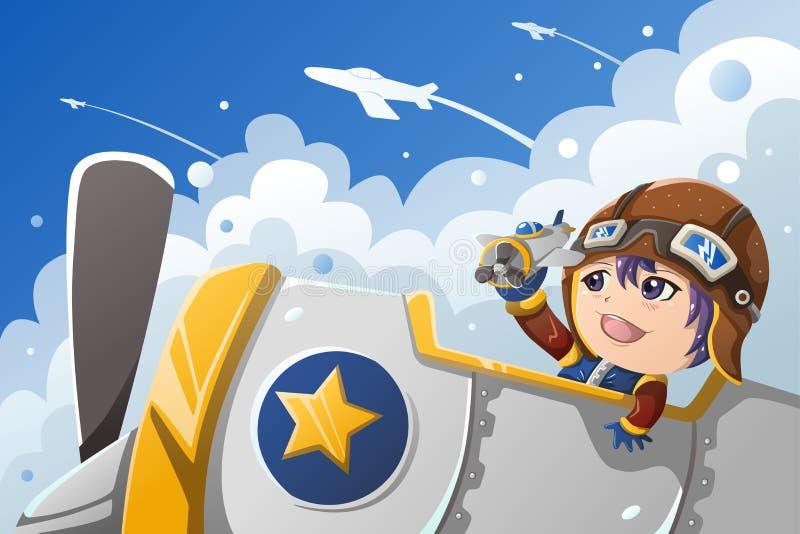Niño que juega con un aeroplano stock de ilustración