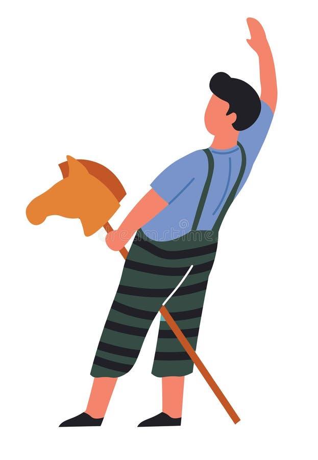 Niño que juega la cabeza de caballo del juego en jinete o vaquero del palillo ilustración del vector