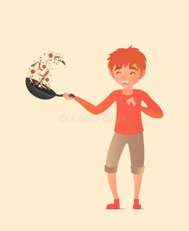 Niño que lanza verduras en un wok Mover de un tirón la comida en una cacerola Ilustración del vector stock de ilustración