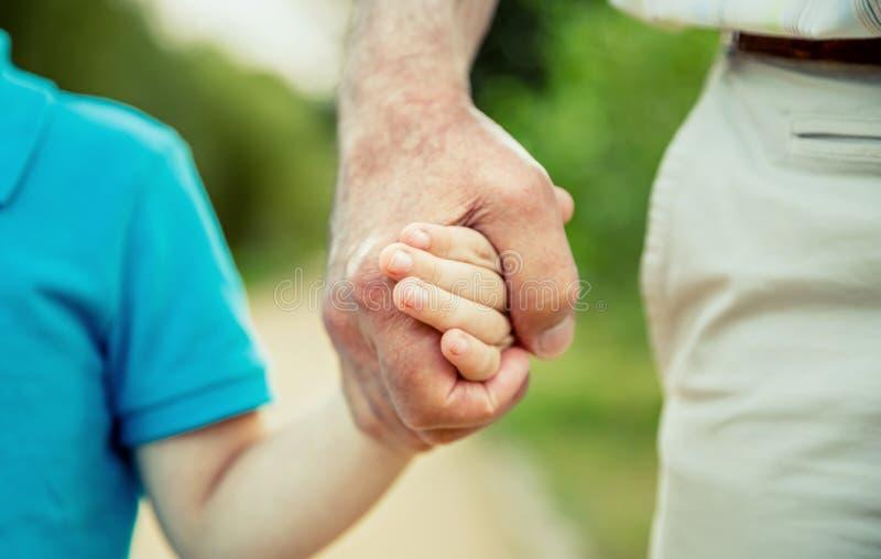 Niño que lleva a cabo la mano del hombre mayor en la naturaleza foto de archivo