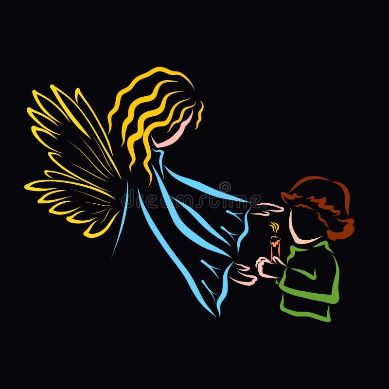 Niño que lleva a cabo una vela y un ángel ardientes ilustración del vector