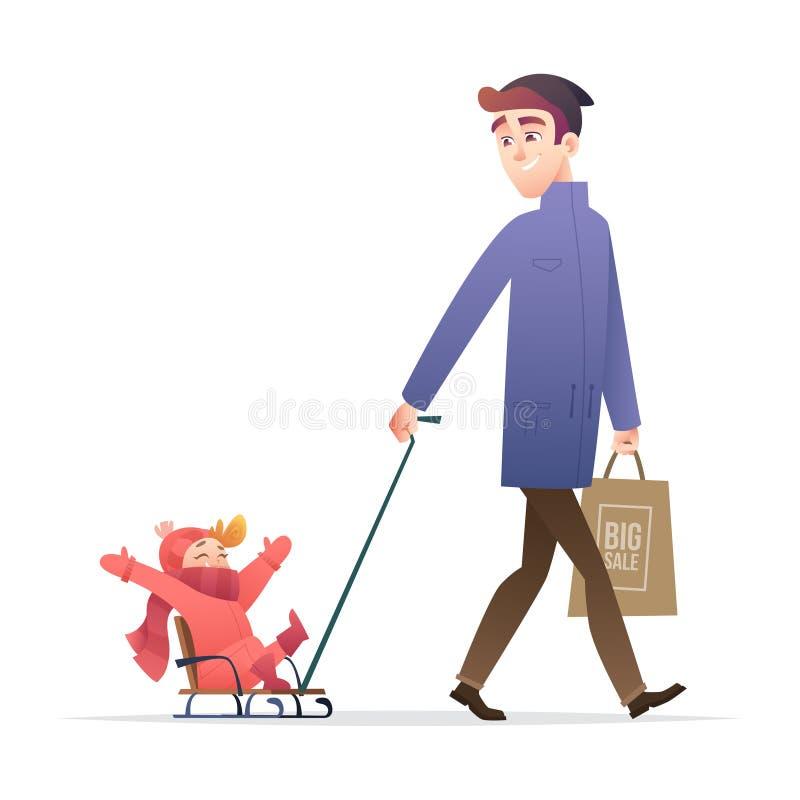 Niño que lleva del padre en trineo, bebé y papá que pasan el tiempo junto durante las vacaciones de invierno, actividades del inv ilustración del vector
