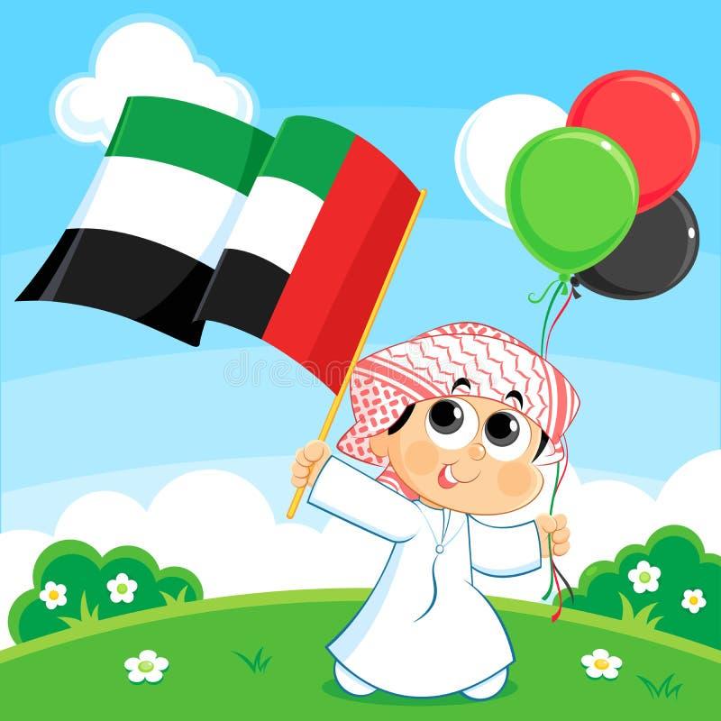 Niño que lleva la bandera de United Arab Emirates stock de ilustración