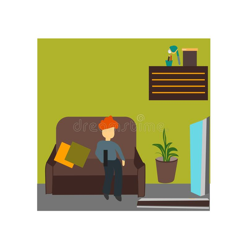 Niño que mira la muestra y el símbolo del vector del vector de la TV aislados en el fondo blanco, niño que mira concepto del logo stock de ilustración