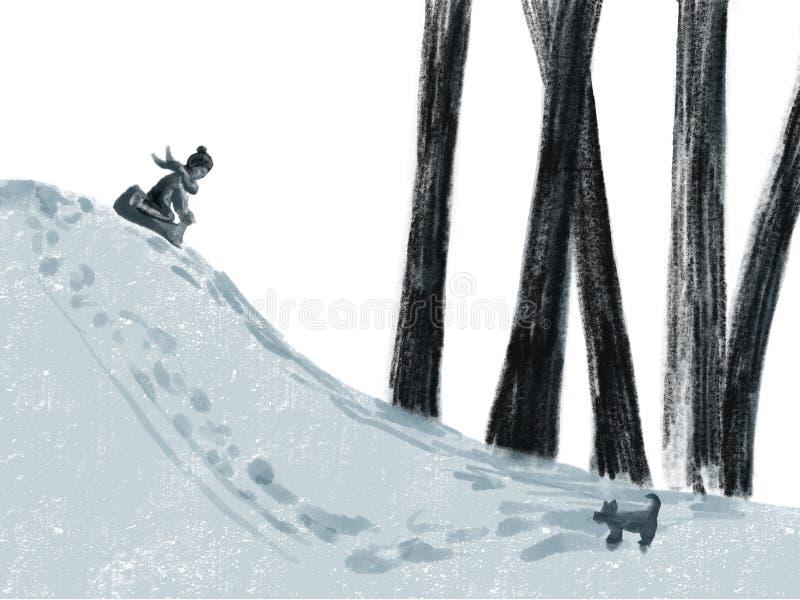 Niño que monta un trineo, juegos del invierno con nieve ilustración del vector
