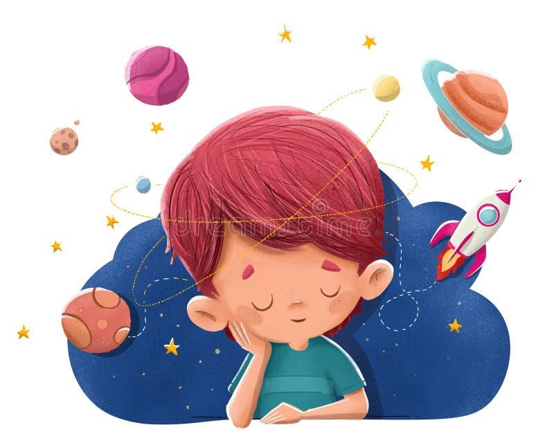 Niño que se imagina y que sueña con los planetas, cohetes, espacio ilustración del vector